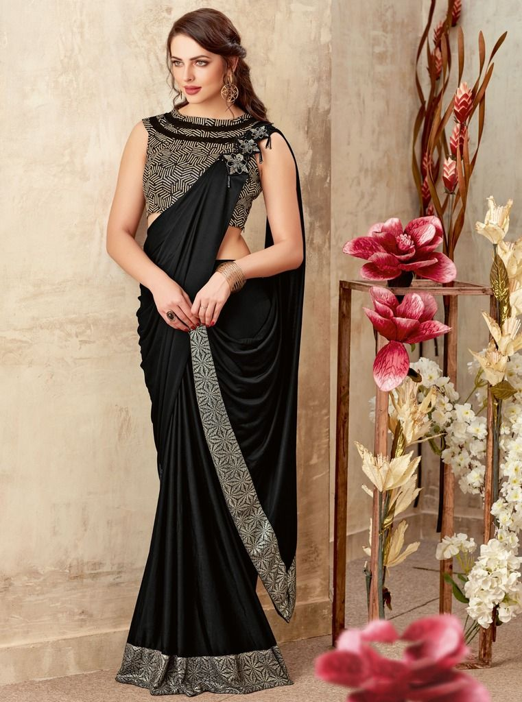 Black Color Crepe Silk Designer Party Sarees : Sadhik Collection  NYF-1722 - YellowFashion.in