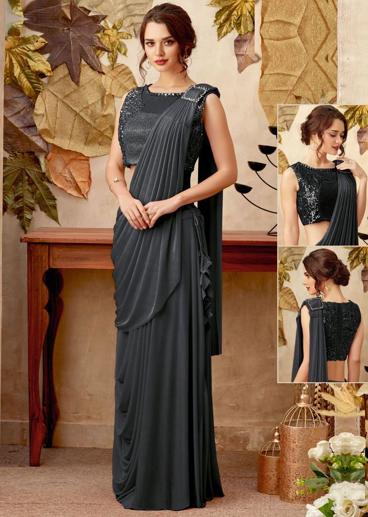 Grey Color Lycra Designer Ready To Wear Sarees : Priyankar Collection  NYF-2044 - YellowFashion.in