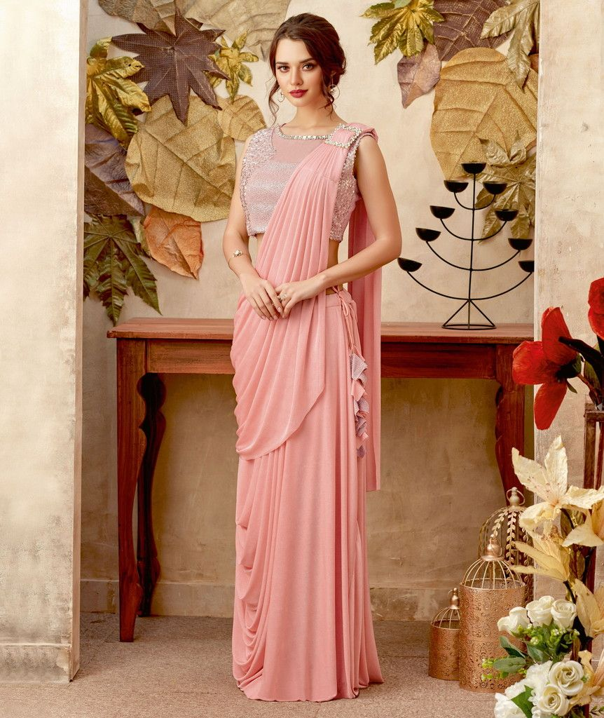 Pink Color Lycra Designer Ready To Wear Sarees : Priyankar Collection  NYF-2043 - YellowFashion.in