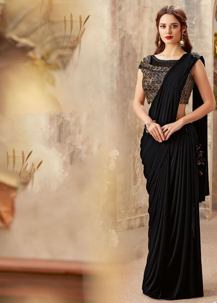 Black Color Lycra Designer Ready To Wear Sarees : Priyankar Collection  NYF-2045 - YellowFashion.in