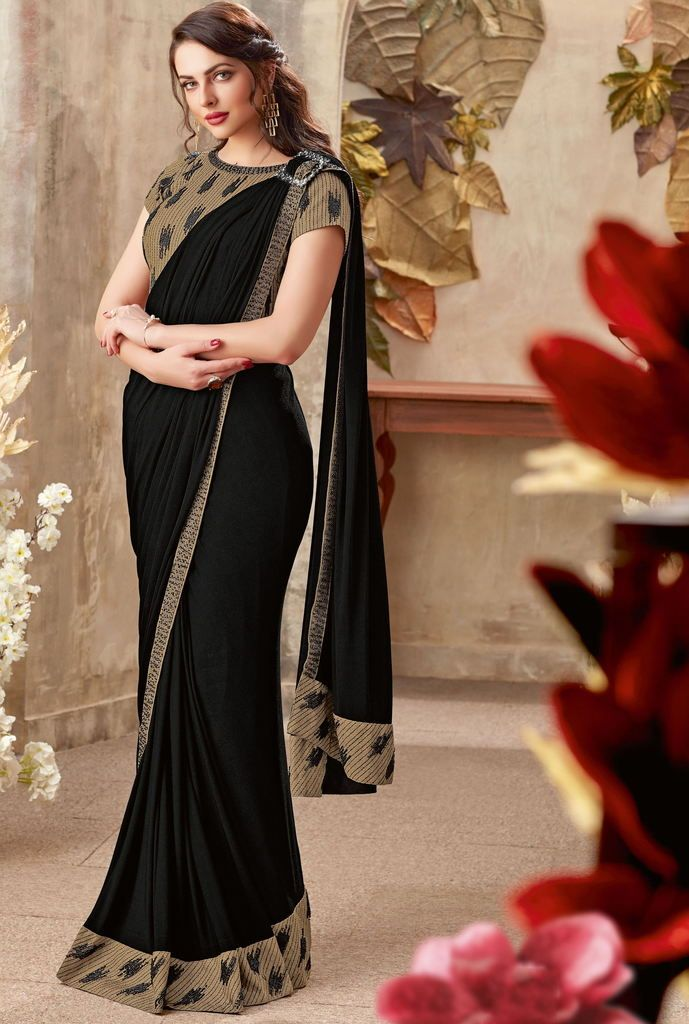 Black Color Lycra Designer Party Wear Sarees : Priyankar Collection  NYF-2049 - YellowFashion.in