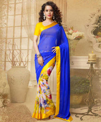 Blue and Yellow  Colour  Georgette  Saree and Silk Georgette  Blouse  Material designer Concept Sarees :  2-in-1 Collection -  YF-14742