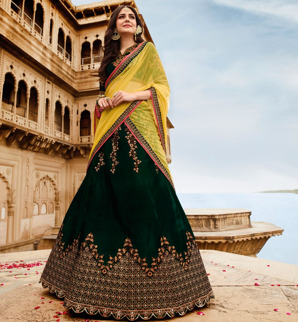 Dark Green Color Velvet Designer Lehenga For Wedding Functions : Kreshti Collection  NYF-3288 - YellowFashion.in