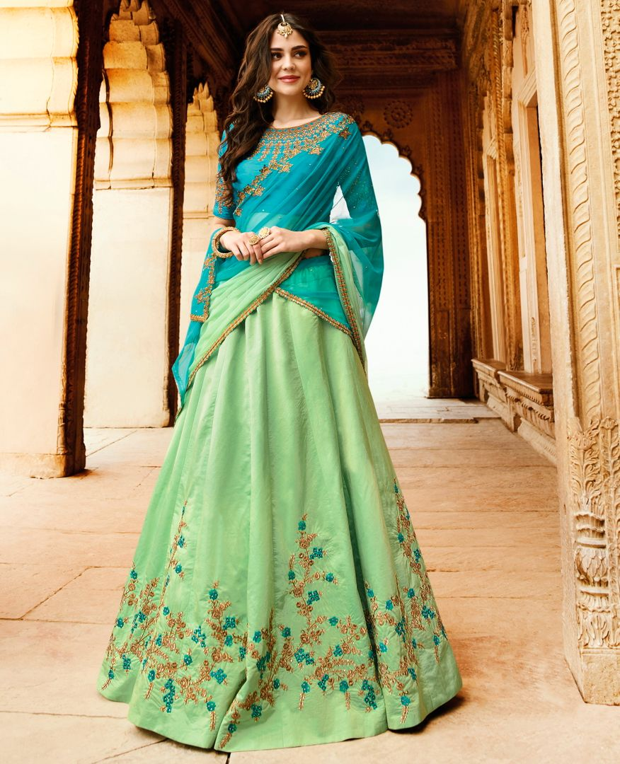 Sea Green Color Raw Silk Designer Lehenga For Wedding Functions : Kreshti Collection  NYF-3289 - YellowFashion.in