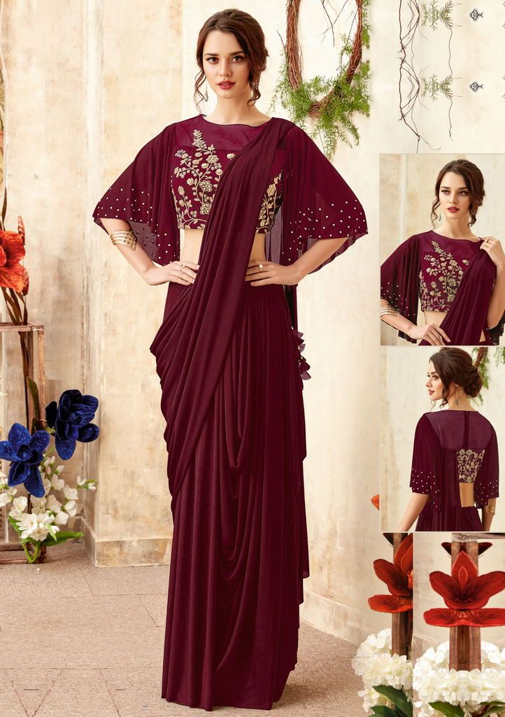 Maroon Color Lycra Designer Ready To Wear Sarees : Priyankar Collection  NYF-2050 - YellowFashion.in