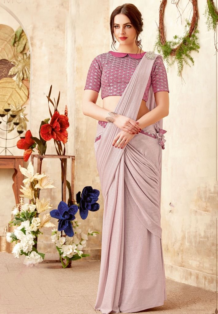 Lavender Color Lycra Designer Ready To Wear Sarees : Sadhik Collection  NYF-1724 - YellowFashion.in