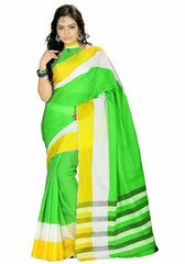 Green Color Cotton Casual Wear Sarees : Dhir Collection  YF-31553