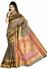 Light Coffee Color Cotton Casual Wear Sarees : Varni Collection  YF-30203