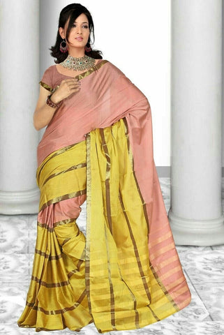 Peach & Yellow  Color Cotton Casual Wear Sarees : Dhir Collection  YF-31554