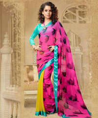Pink Yellow and Blue  Colour  Georgette  Saree and Silk Georgette  Blouse  Material designer Concept Sarees :  2-in-1 Collection -  YF-14743