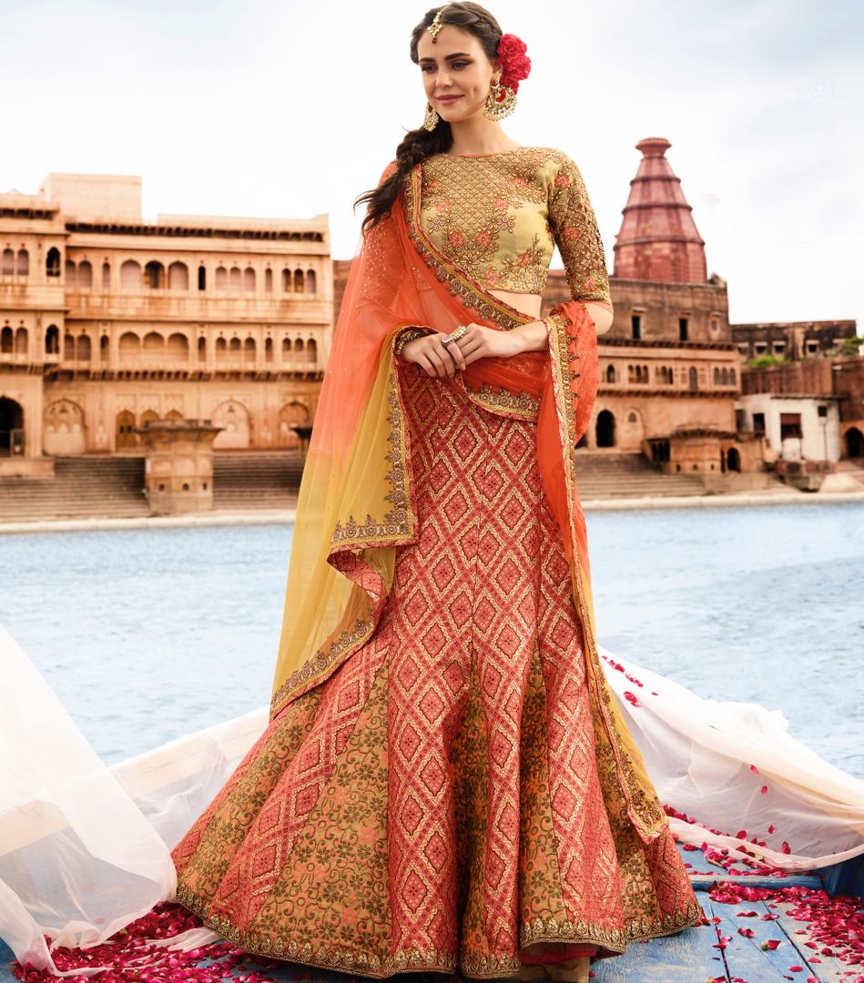 Peach  Jacquard Silk Designer Lehenga For Wedding Functions : Kreshti Collection  NYF-3290 - YellowFashion.in