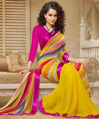 Yellow and Pink  Colour  Georgette  Saree and Silk Georgette  Blouse  Material Designer Concept Saree :  2-in-1 Collection -  YF-14744