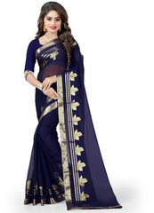 Blue Color Wrinkle Chiffon Casual Party Sarees : Lenisha Collection  YF-51409