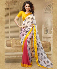 Gajjaria White and Yellow  Colour  Georgette  Saree and Silk Georgette  Blouse  Material Designer Concept Saree :  2-in-1 Collection -  YF-14745