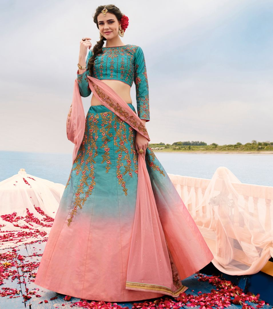 Firozi & Pink  Raw Silk Designer Lehenga For Wedding Functions : Kreshti Collection  NYF-3291 - YellowFashion.in