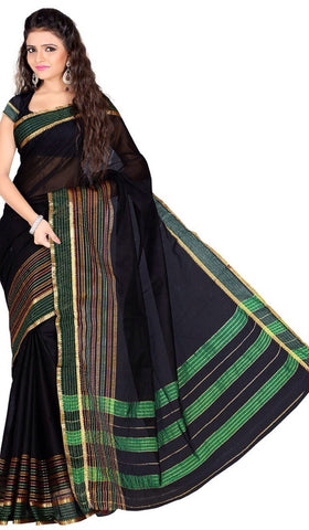 Black Color Cotton Casual Wear Sarees : Varni Collection  YF-30208