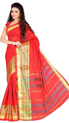Red Color Cotton Casual Wear Sarees : Varni Collection  YF-30209