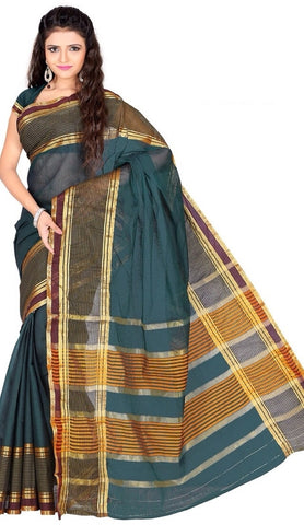 Rama Green Color Cotton Casual Wear Sarees : Varni Collection  YF-30213
