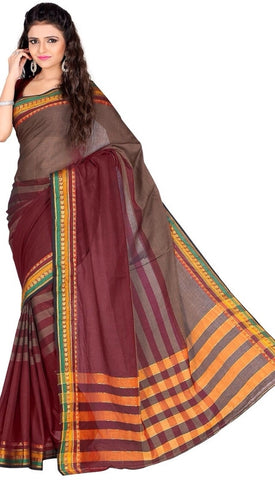 Brown & Maroon Color Cotton Casual Wear Sarees : Varni Collection  YF-30215