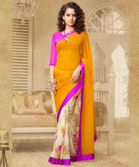 Orange, Cream and Pink Colour Georgette Saree and Silk Georgette Blouse Material Designer Concept Saree : 2-in-1 Collection - YF-14747