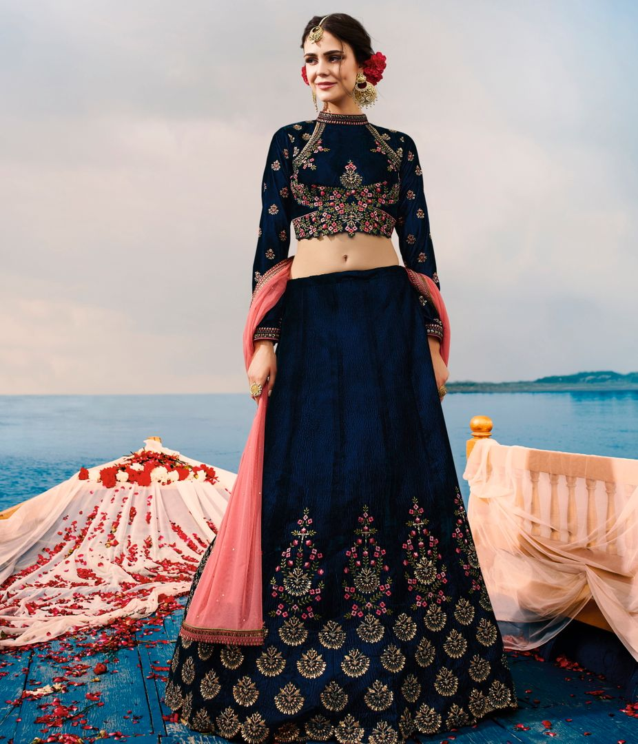 Navy Blue  Two Tone Velvet Designer Lehenga For Wedding Functions : Kreshti Collection  NYF-3292 - YellowFashion.in