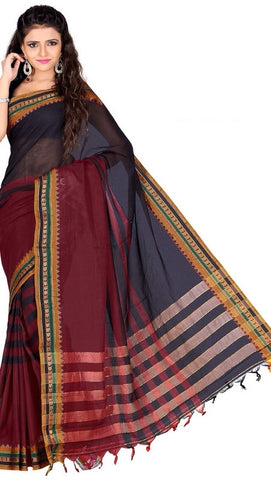 Red & Blue Color Cotton Casual Wear Sarees : Varni Collection  YF-30218