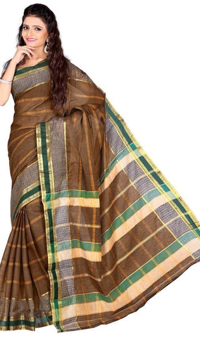 Light Brown Color Cotton Casual Wear Sarees : Varni Collection  YF-30220