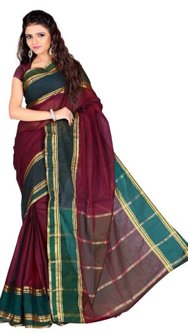 Pink & Green Color Cotton Casual Wear Sarees : Varni Collection  YF-30221