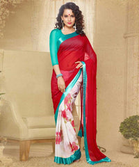 Red, White and Blue Colour Georgette Saree and Silk Georgette Blouse Material Designer Concept Saree : 2-in-1 Collection - YF-14748
