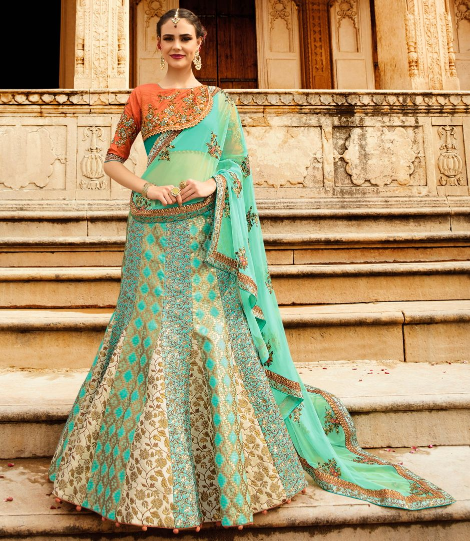 Sea Green & Cream  jacquard Silk Designer Lehenga For Wedding Functions : Kreshti Collection  NYF-3293 - YellowFashion.in