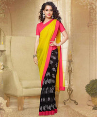 Yellow and Black  Colour  Georgette  Saree and Silk Georgette  Blouse  Material Designer Concept Saree :  2-in-1 Collection -  YF-14749