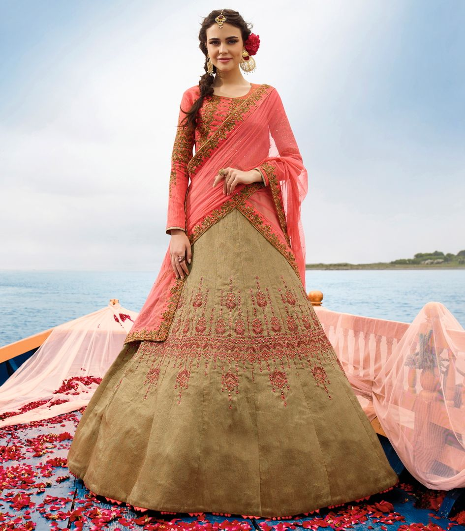 Beige  Two Tone Silk Designer Lehenga For Wedding Functions : Kreshti Collection  NYF-3294 - YellowFashion.in