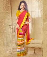 Orange and Golden Yellow  Colour  Georgette  Saree and Silk Georgette  Blouse  Material Designer Concept Saree :  2-in-1 Collection -  YF-14750