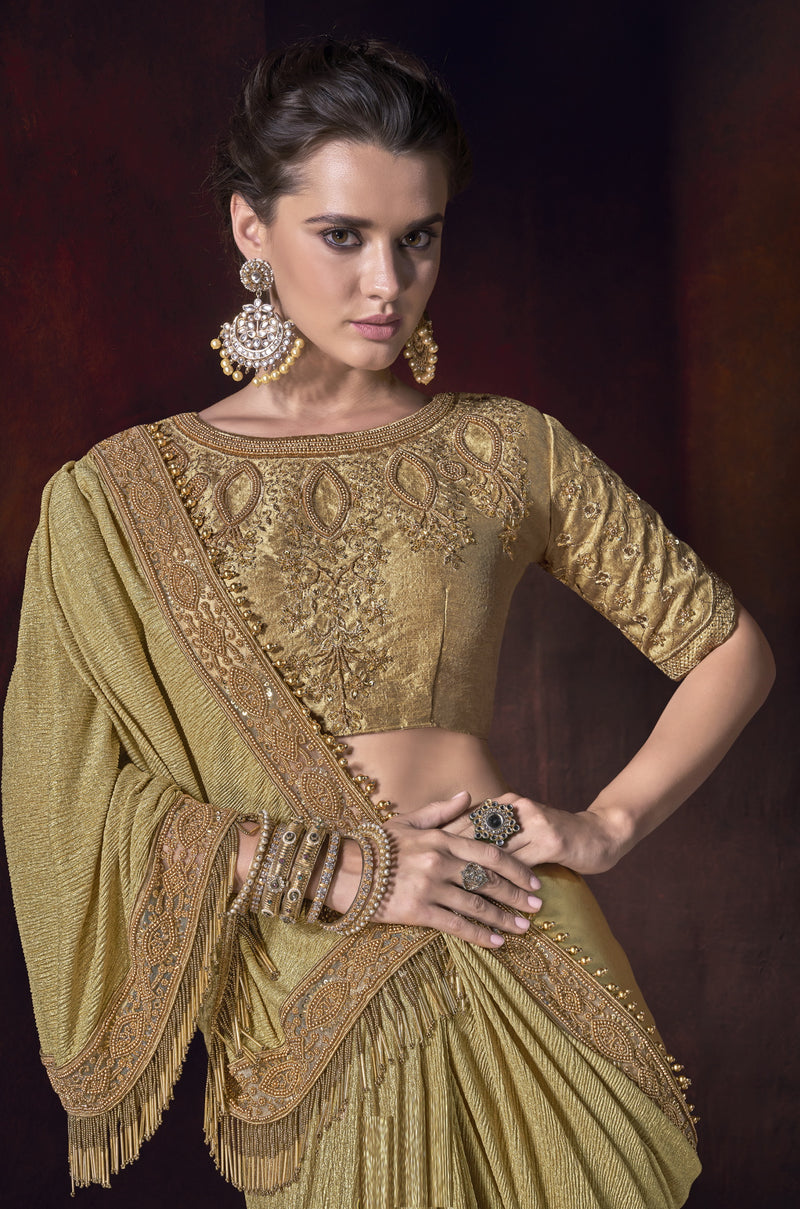 Golden Color Lycra Ravishing Designer Sarees NYF-5803