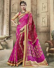 Pink & Red Color Chiffon Bandhej Party Wear Sarees : Aniha Collection  YF-54695