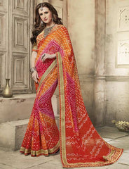 Orange & Pink Color Wrinkle Chiffon Bandhej Party Wear Sarees : Aniha Collection  YF-54697