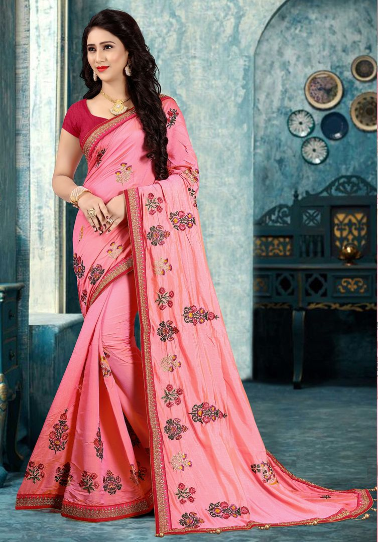 Pink Color Silk Party Wear Sarees : Pinati Collection  NYF-3375 - YellowFashion.in