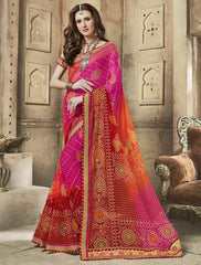Pink, Orange & Red Color Wrinkle Chiffon Bandhej Party Wear Sarees : Aniha Collection  YF-54698