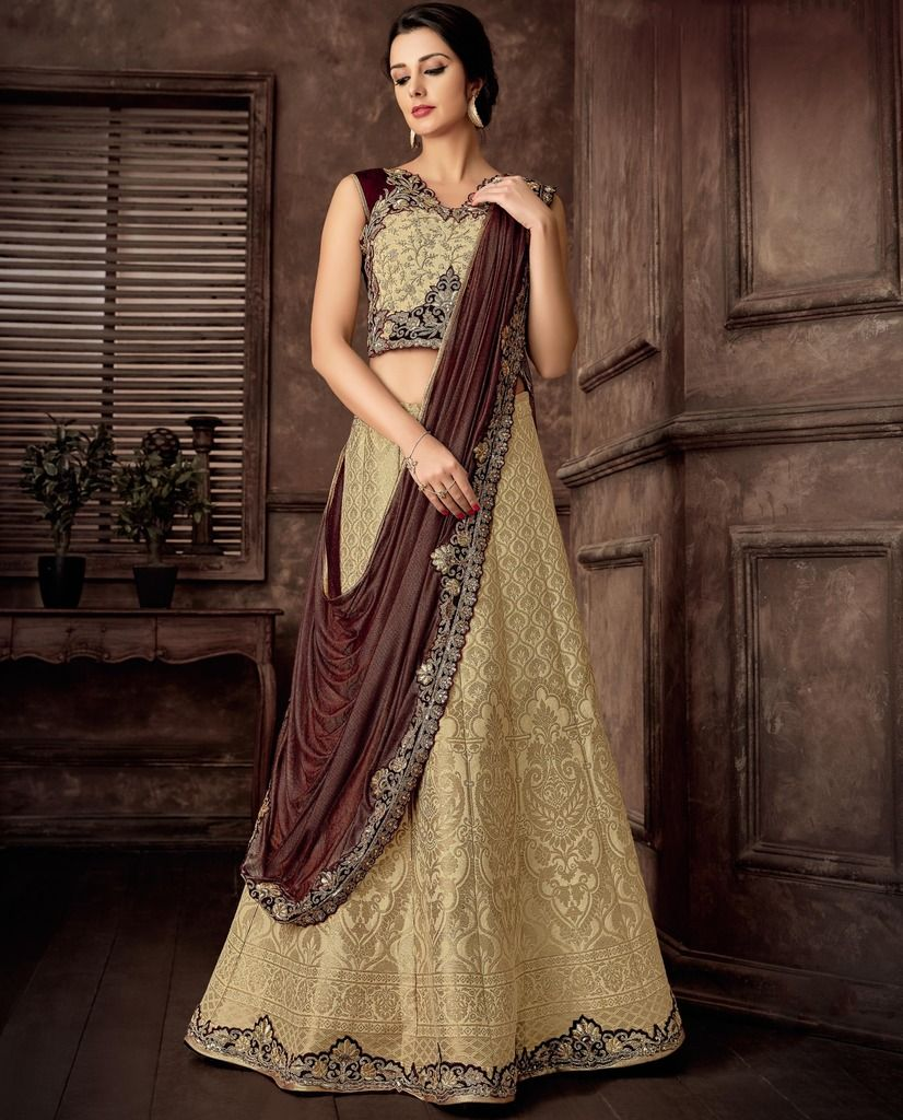 Cream & Brown Color Raw Silk Designer Lehenga Sarees : Sadhik Collection  NYF-1725 - YellowFashion.in