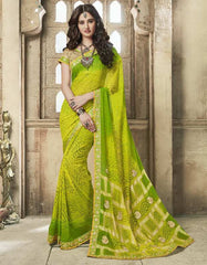 Parrot Green Color Chiffon Bandhej Party Wear Sarees : Aniha Collection  YF-54699