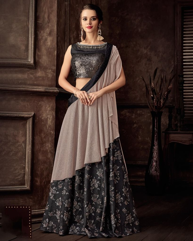 Lavender & Black Color Silk Designer Lehenga Sarees : Sadhik Collection  NYF-1726 - YellowFashion.in