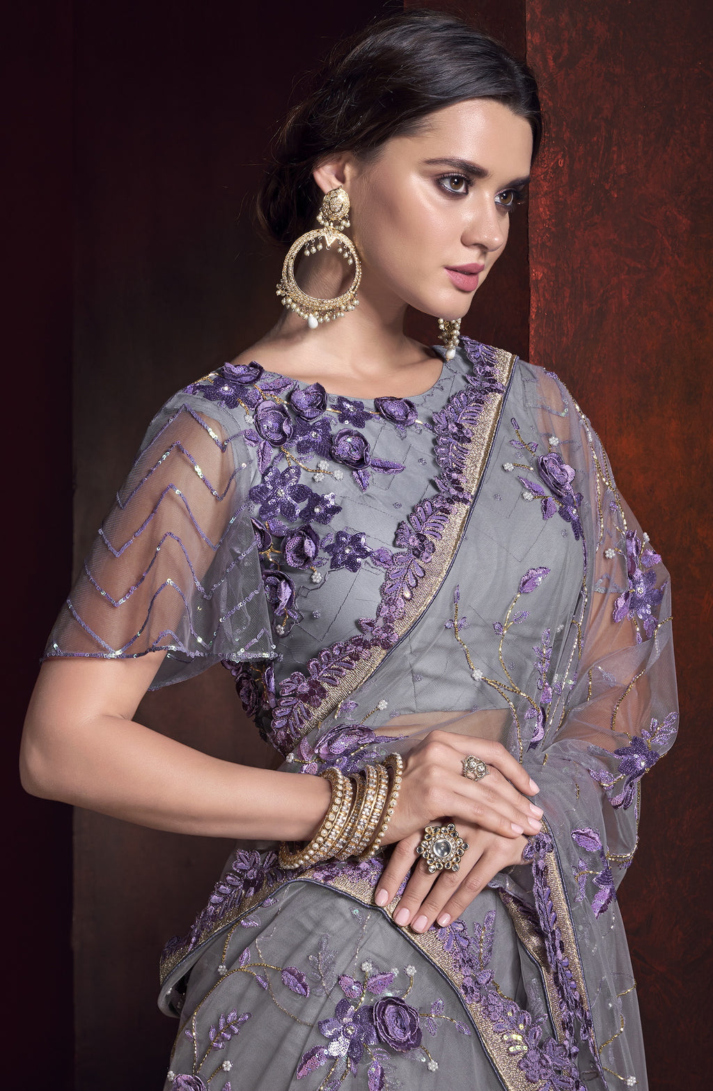 Grey & Lavender Color Net Ravishing Designer Sarees NYF-5810
