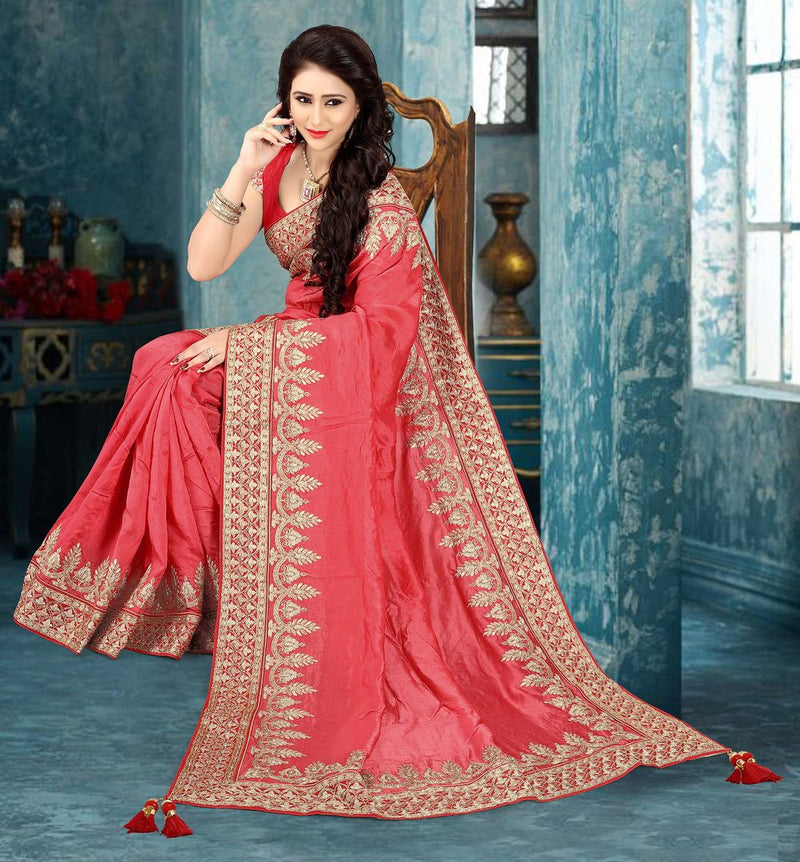 Pink Color Silk Party Wear Sarees : Pinati Collection  NYF-3377 - YellowFashion.in