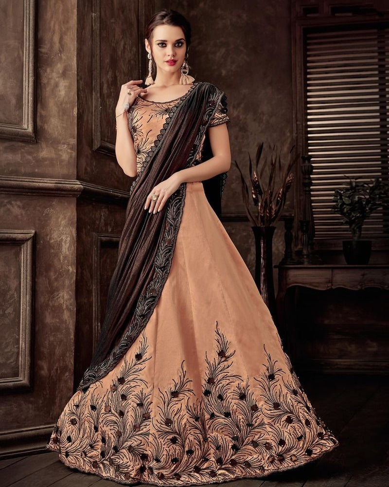 Peach & Brown Color Silk Designer Lehenga Sarees : Sadhik Collection  NYF-1728 - YellowFashion.in