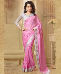 Pink  Colour Crape Saree and Manipuri Silk Blouse  Material Designer Concept Saree :  2-in-1 Collection -  YF-14751
