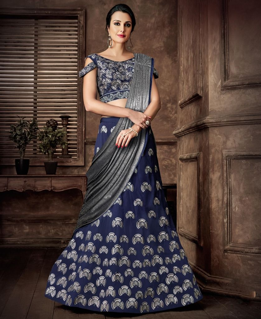 Blue & Grey Color Silk Designer Lehenga Sarees : Sadhik Collection  NYF-1729 - YellowFashion.in