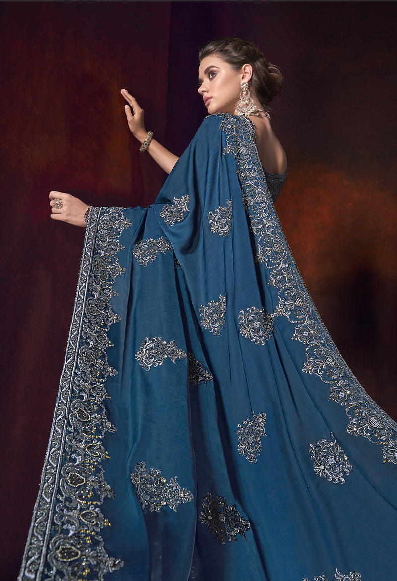 Blue Color Crepe Silk Ravishing Designer Sarees NYF-5812