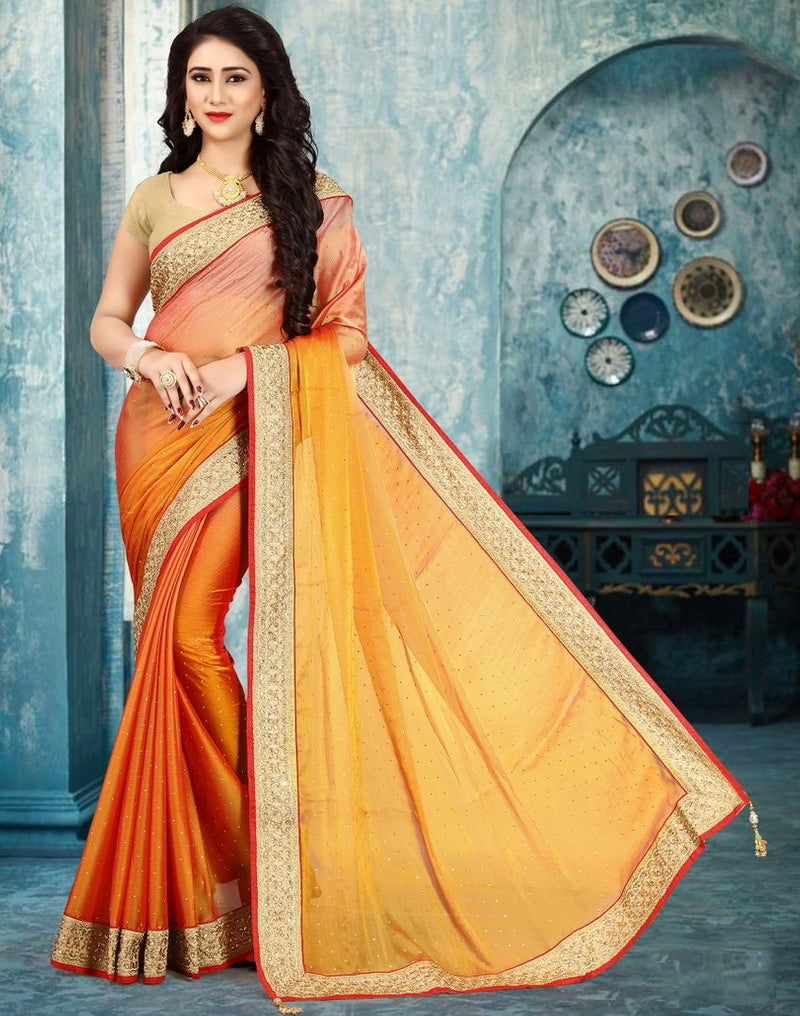 Yellow Color Wrinkle Chiffon Party Wear Sarees : Pinati Collection  NYF-3378 - YellowFashion.in