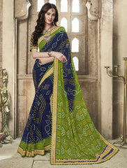 Blue & Green Color Georgette Bandhej Party Wear Sarees : Aniha Collection  YF-54703