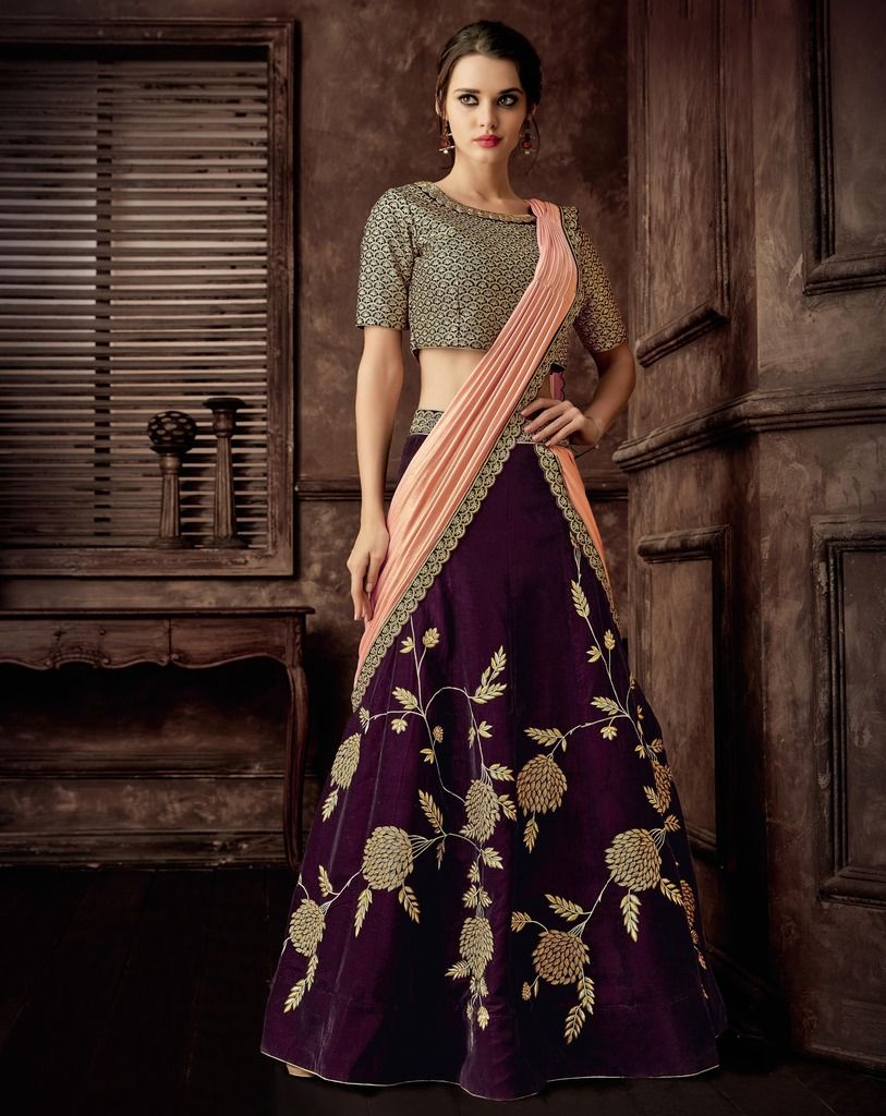 Purple & Pink Color Silk Designer Lehenga Sarees : Sadhik Collection  NYF-1730 - YellowFashion.in